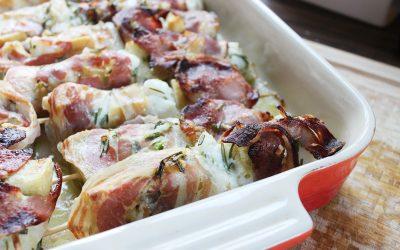 Seeteufelspieße im Pancetta-Mantel